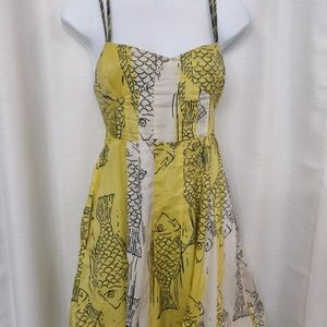 FREE PEOPLE YELLOW SUMMER HALTER FISH PRINT DRESS